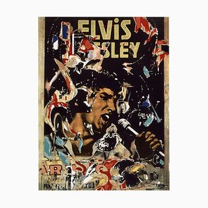 Elvis Presley Screen Printing and Collage by Mimmo Rotella