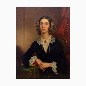 Escuela británica, retrato de una dama con collar de rubí, siglo XIX