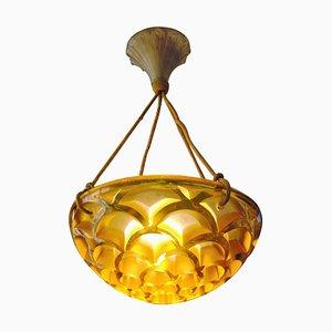 Scrolls Model 2468 Gold Suspension Lamp by René Lalique, 1926