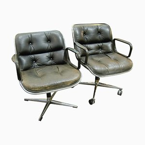 Black Executive Chairs by Charles Pollock for Knoll, Set of 2