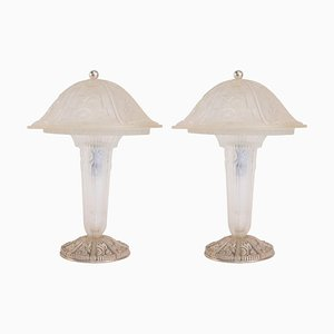 Glass Table Lamps from Hettier & Vincent, Set of 2