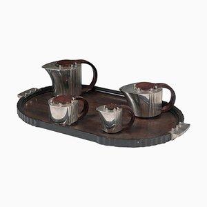 Silver Plated Tea Set by Jean Elysée Puiforcat, Set of 5
