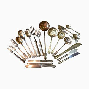 French Sterling Gold Dinner Flatware from Queille & Touron, 1860s, Set of 108
