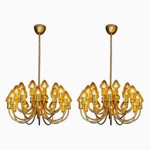 Lampadari in ottone di Arne Jacobsen, set di 2
