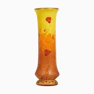 Poppies Cameo Enameled Vase from Daum Nancy