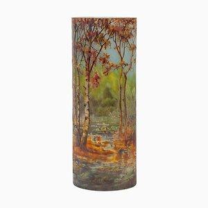 Cameo Autumn Landscape Vase from Daum