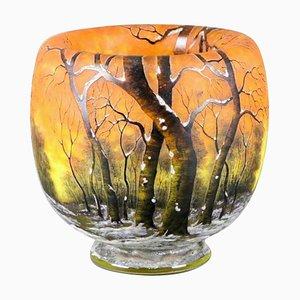 Enameled Glass Winter Landscape Vase from Daum
