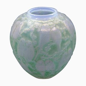 Green Patina Perruches Vase by R. Lalique