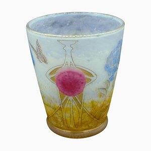 Hortensias Vase with Butterfly Decor from Daum Nancy