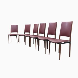 Walnut Dining Chairs by Osvaldo Borsani for Tecno, Set of 6