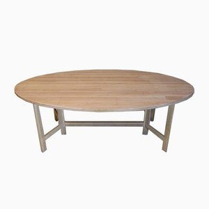 Oval Pine Dining Table by Olof Pira, 1960s
