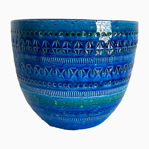 Rimini Blu Keramikvase von Aldo Londi für Flavia Montelupo, 1960er