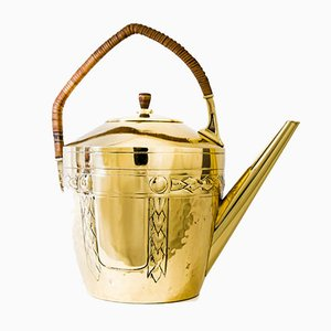Art Deco Brass Can with Wicker Handle, 1920s