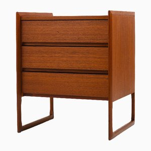 Scandinavian Teak Chest of Drawers on Sleigh Legs, 1960s