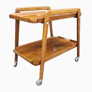 Vintage French Walnut Trolley with Removable Tray, 1940s