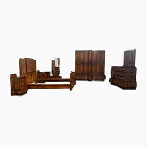 Walnut Furniture with Carvings by Ducrot, 1920s, Set of 7