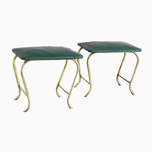 Italian Ottomans with Curved Tubular Brass Structure & Green Vinyl Seats, 1960s, Set of 2