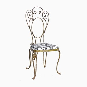 Gilded & Hammered Iron Dining Chair by Pier Luigi Colli, 1960s