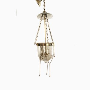 Empire Glass & Bronze Ceiling Lamp, 1810s