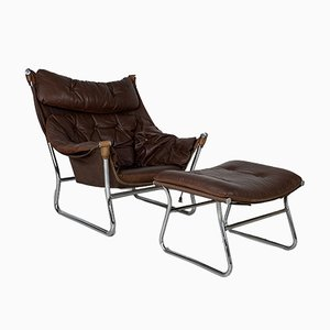 Brown Leather Sling Chair & Ottoman by Ingmar Relling, 1970s, Set of 2