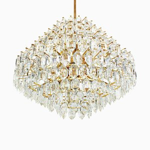 Large Austrian Brass and Crystal Glass Chandelier from Bakalowits & Söhne, 1960s