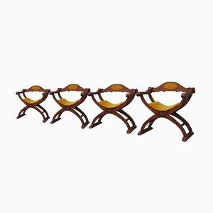 Savonarola Armlehnstühle, 1950er, 4er Set