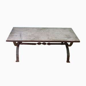 Antique Wrought Iron & Stone Garden Table