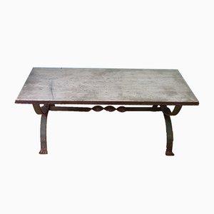 Table de Jardin Antique en Fer Forgé et Pierre