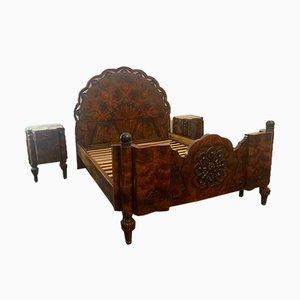 Rosewood Bed & Nightstands Set, 1930s, Set of 3
