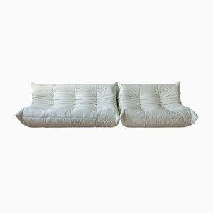 Weißes Togo 2-Sitzer Sofa & 3 Sitzer Sofa aus Leder von Michel Ducaroy für Ligne Roset, 1970er, 2er Set