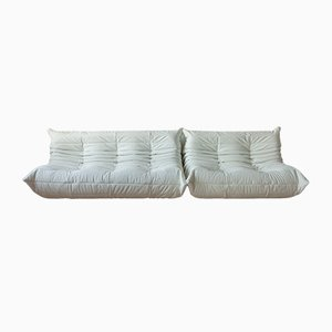 White Leather Togo 2-Seat & 3-Seat Sofa Set by Michel Ducaroy for Ligne Roset, 1970s, Set of 2