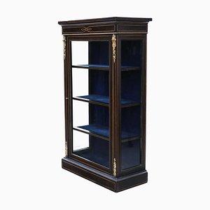 Tall Victorian Inlaid & Ebonized Display Cabinet, Circa 1890