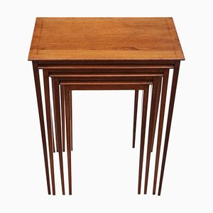 Antique Inlaid Mahogany Nesting Tables from RJ Horner, Circa 1900, Set of 4