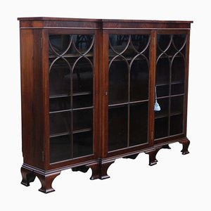 Victorian Mahogany Glazed Adjustable Breakfront Bookcase, 1800s