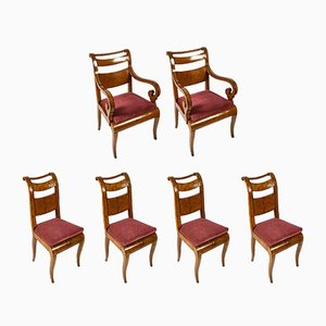 Antique Charles X Maple Dining Chairs and Armchairs, Set of 6