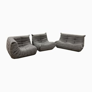Gray Fabric Togo Armchairs & 2-Seater Sofa Set by Michel Ducaroy for Ligne Roset, 1979, Set of 3