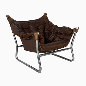 Brown Leather Sling Chair by Ingmar Relling, 1970s