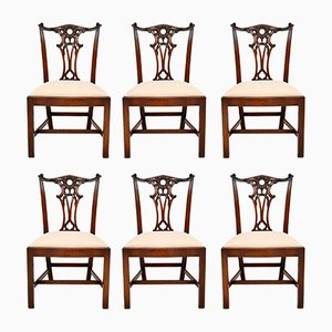 Vintage Chippendale Style Dining Chairs, Set of 6