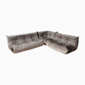 Samt Togo Armlehnsessel in Elefanten-Optik & 2-Sitzer Sofa Set von Michel Ducaroy für Ligne Roset, 1979, 3er Set