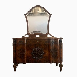 Art Deco Moorish Style Rosewood Chest of Drawers & Mirror, 1930s, Set of 3