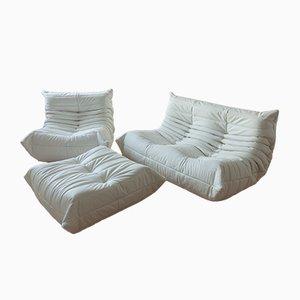 Vintage French White Leather Togo Living Room Set by Michel Ducaroy for Ligne Roset, Set of 3