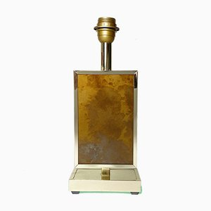 Hollywood Regency Brass & Marbled Resin Table Lamp, 1970s