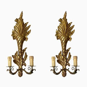 Italian Neoclassical Louis XVI Style Gilded Wood Sconces, 1960s, Set of 2