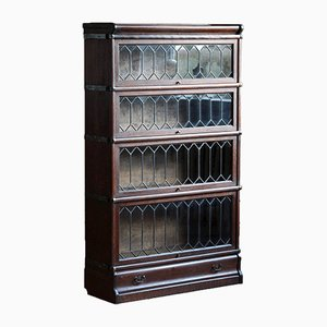 Antique Sectional Lead Glass Barrister Bookcase in the Style of Globe & Wernicke
