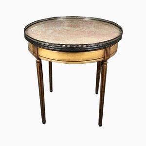 Louis XVI Stil Bouillotte Tisch mit Kirschholz Furnier & lachsfarbener Marmorplatte, 1970er