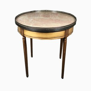 Louis XVI Style Bouillotte Table with Cherry Veneer & Salmon Pink Marble Top, 1970s