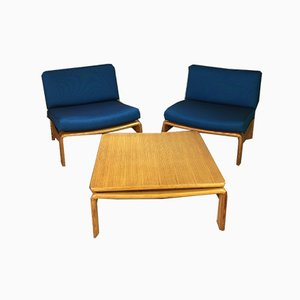 Mid-Century Armchairs & Coffee Table by Carl Straub, Set of 3