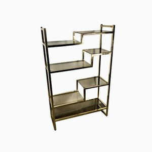Golden Chromed Metal Wall Unit / Bookcase from Lancel, 1960s