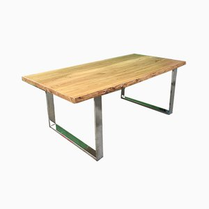 Handcrafted Dining Table with Chrome Legs & Solid Elm Top, 1970s