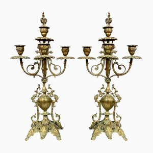 Napoleon III Patinated Bronze Baroque Cathedral Candleholders, Set of 2